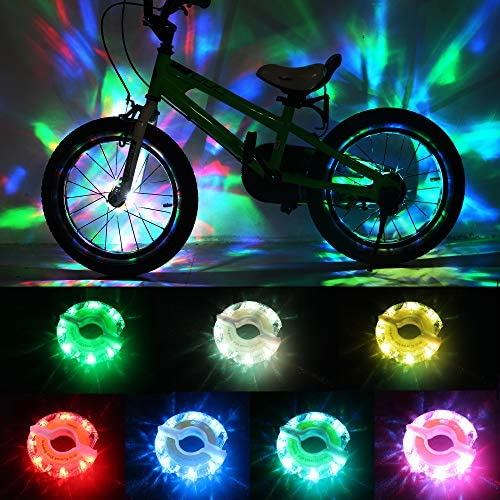 DAWAY Rechargeable Bike Wheel Lights – A16 Cool Led Kids Bicycle Spoke Lights, 2 Tire Pack, Safety Hub Accessories for Boys Girls Adults, Waterproof, Super Bright, Fun Cycling Gifts