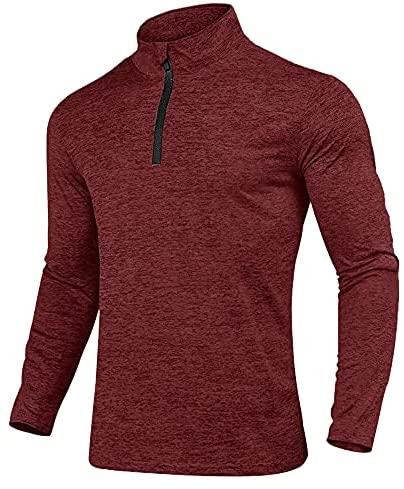 KEFITEVD Laufshirt Herren Half Zip Atmungsaktiv Sportshirt Fleece Stehkragen Sweatshirt Langarm Stretch Gym Running Shirt