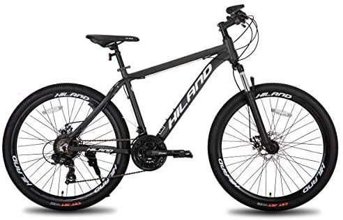 Hiland Bicicleta de montaña de aluminio de 26 pulgadas, 24 velocidades, con freno de disco Shimano, cuadro de 16,5/18/19,5