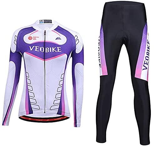 Women's Fietsen Lange Mouw Ademend Jersey Set 3D Gewatteerde Lange Broek Bike Shirt Fiets Panty Kleding