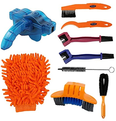 izBuy Bike Cleaning Tool Kit of 9 PCS, BMX & Mountain Bike Cleaner Brush Kits for Clean Chains, Tires, Gears, Frames – Special Tools for Bicycle Washing Kit