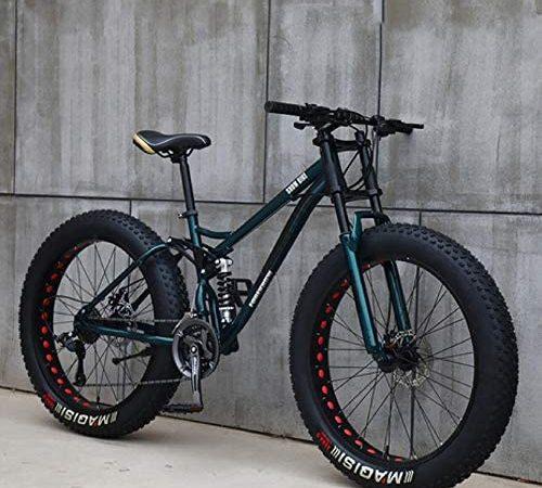 26″Bicicletas de Montaña,21 Velocidad Bikes Bicicleta Montaña,Bicicleta de Montaña para Adultos Fat Tire ,Marco de Acero de Alto Carbono Doble Suspensión Completa Doble Freno de Disco (Cian)