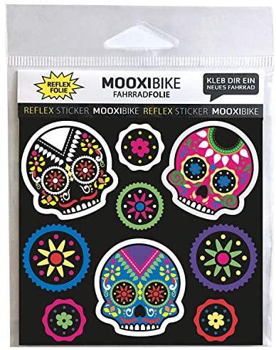 MOOXIBIKE Reflecterende stickers Día de Muertos, zichtbaarheid verhogen op fiets, scooter, helm en schooltas door reflecterende designbekledingen