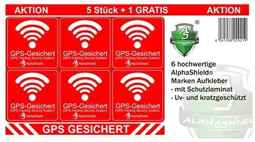 6 stuks GPS-stickers voor binnen- of buitengebruik, fiets motorfiets bouwmachines auto vrachtwagen alarm waarschuwing anti-diefstal sticker tracker beveiligd R048 (buiten klevend)