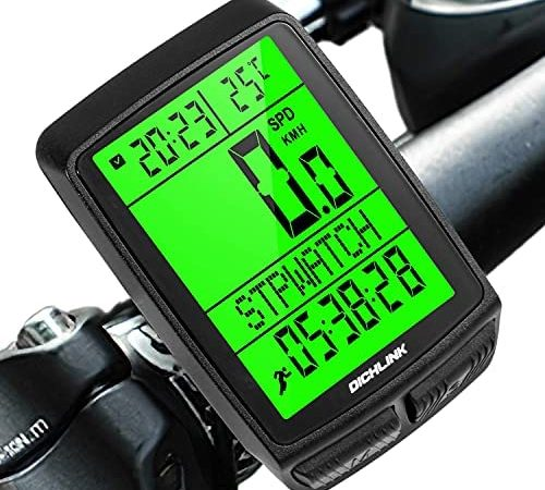Dichlink Contachilometri Bici Wireless, Contachilometri Bici Senza Fili 5 impostazioni della Lingua Computer da Bicicletta Impermeabile con retroilluminazione,Tachimetro per Bicicletta Multifunzione