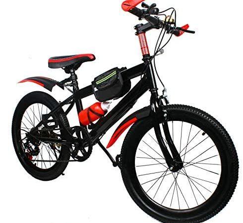 Mountain bike per bambini e ragazzi, bicicletta per bambini, con freno a disco doppio, rosso, 20 pollici, 6 marce