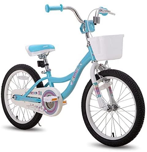 CYCMOTO 12 14 16 18 inch Kids Bike for Boys & Girls with Training Wheels,18 inch with Kickstand Toddler Bike with Basket & Handbrake Blue Pink Purple
