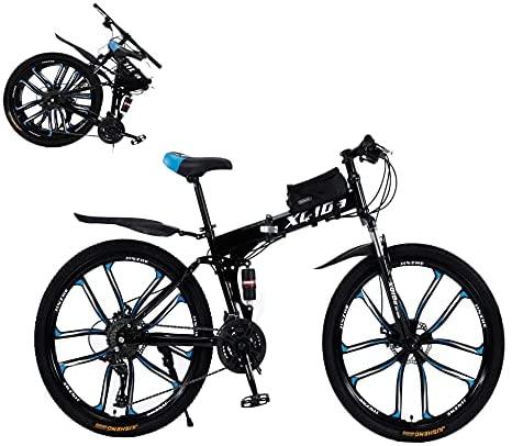 26″ Pulgadas Foldable Bicicleta de montaña Ruedas de 27 velocidades Amortiguadores Dobles Freno de Disco Dual para Hombres y Mujeres Bicicleta de ciclocross/Envío Desde almacén alemán,Black-Red