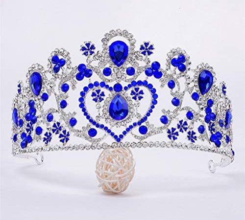 Panpan A Forma di Cuore Tiara Copricapo Superiore Nuziale Lega Strass, zircone Sposa Corona Accessori Fascia per Le Donne,Blu