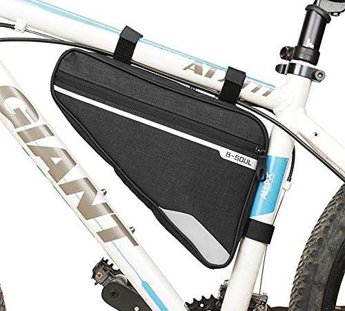 FLYEER Borsa Bici Telaio MTB Impermeabile, Borsa Triangolare Bici Bicicletta Borsa Telaio Ciclismo Riflettente Grande capacità per Bici Corsa Strada MTB Telefono Strumenti Riparazione Mini Pompa