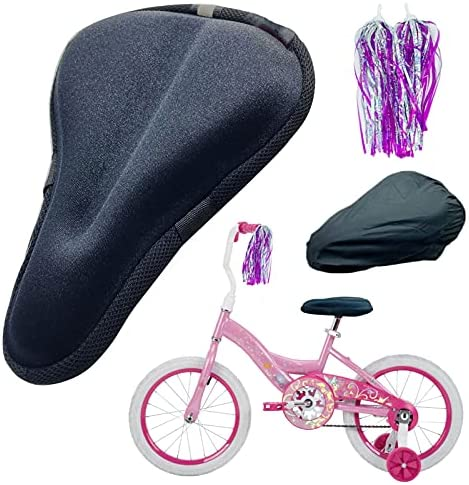 TOMDLING Kids Gel Bike Seat Cushion Cover, Breathable Memory Foam Child Bike Seat Cover, Seat Cushion for Children's Bicycle, with Water and Dust Resistant Cover, 9″x6″