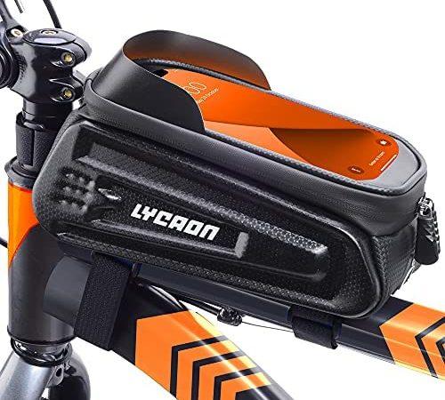 LYCAON Bolsa para el Cuadro de la Bicicleta (Clásica), Funda para el teléfono móvil con Ventana de Pantalla táctil, para iPhone, Samsung, Huawei, Smart Phone