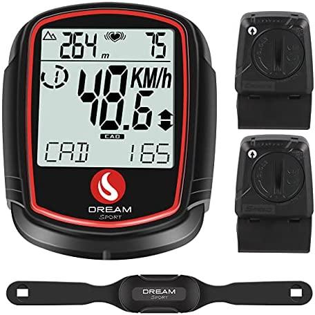SKARLIE Bike Computer with Heart Rate Sensor Cadence Speed Sensor Bike Computer Speedometer Odometer Backlight Altimeter Black Bicycle Tracker