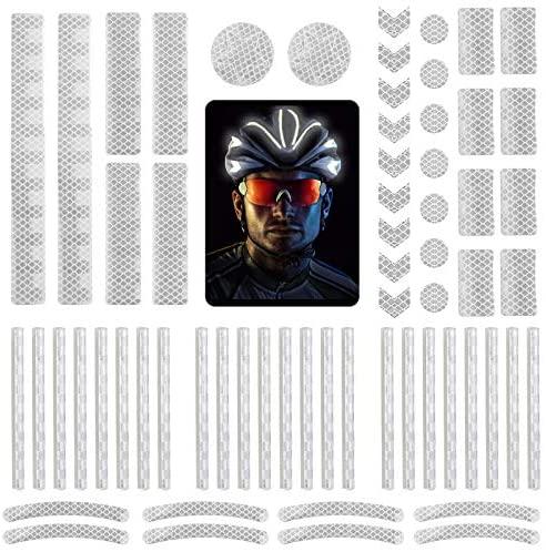 DONQL 64 Stück Reflektoraufkleber Set Reflektoren Aufkleber Sticker Reflektor Fahrrad Reflective Tape Reflexfolie Selbstklebend Reflektierende Aufkleber für Fahrrädern und Helmen