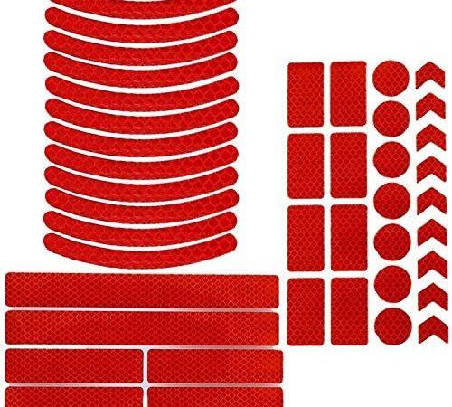 Boyigog Pegatinas Reflectantes de Bicicleta, 42pc Adhesivos Reflectantes y Impermeables para Cascos, Bicicletas, Cochecitos, Sillas de Ruedas y Más(Disponible en Tres Colores) (Rojo)