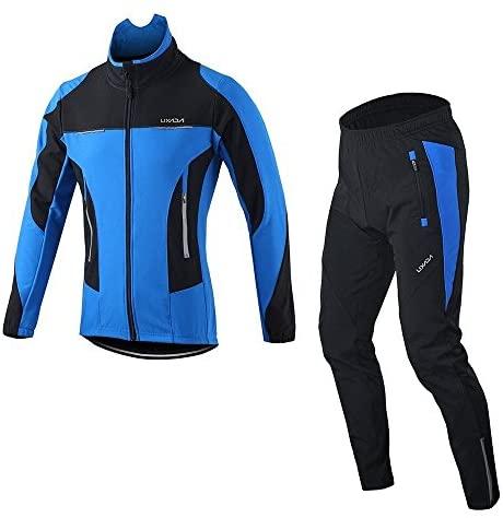 Lixada Homme Maillot de Cyclisme Manches Longues Vestes de Cyclisme Coussin Rembourrés en Pantalons Vélo VTT Vêtements Respirant Automne Hiver Thermique Polaire Maillot