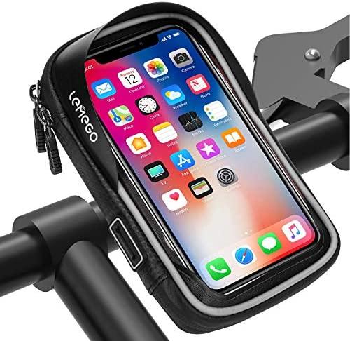 LEMEGO Support Housse de Téléphone Rotatif Etanche pour Vélo Moto Scooter avec Espace de Rangement, 6,2 Pouces