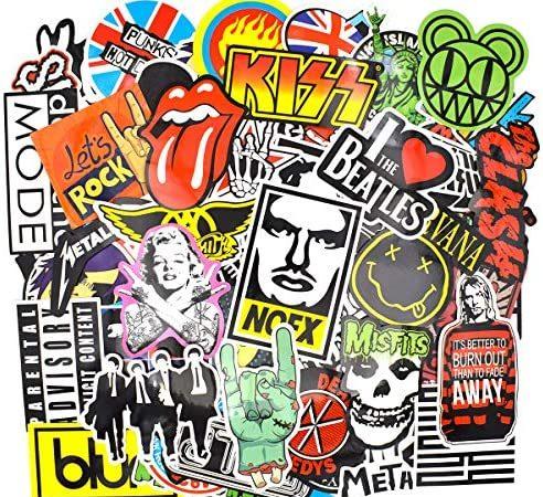 makstore Rock and Roll Band muziek stickers stickers voor laptop, auto, motorfiets, fiets, graffiti, patch, skateboard, waterdicht