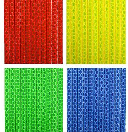 TAGVO Copri Raggi Catarifrangenti per Bicicletta 4 Pezzi / 48 Pezzi (12 x Blu + 12 x Verde + 12 x Rosso + 12 x Giallo) Clip Riflettenti per Bambini &Adulti Bicicletta Facile da Montare