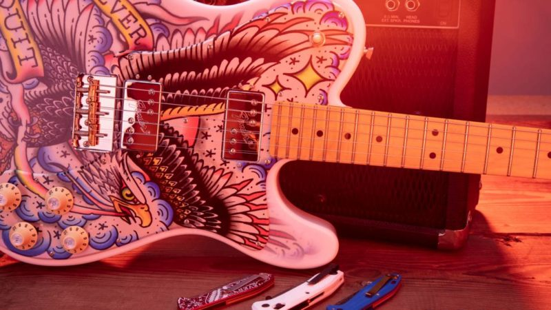 Edgy Giveaway: Gerber, Fender Release Jaw-Dropping Custom Tattooed Guitar and Knives